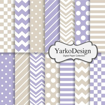Purple And Beige Basic Geometric Digital Paper Set, 14 Digital Paper Sheets