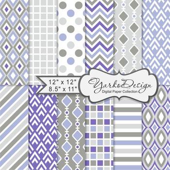 Purple And Gray Geometric Digital Paper Set, 12 Digital Paper Sheets