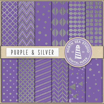 Purple And Silver Digital Paper, Silver Patterns, Purple Backgrounds