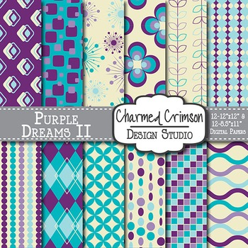 Purple, Aqua, and Teal Retro Digital Paper 1209