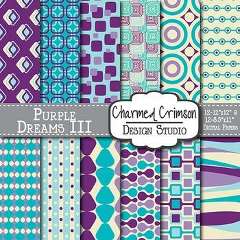 Purple, Aqua, and Teal Retro Digital Paper 1207