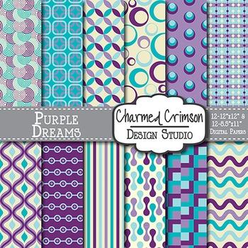 Purple, Aqua, and Teal Retro Digital Paper 1208