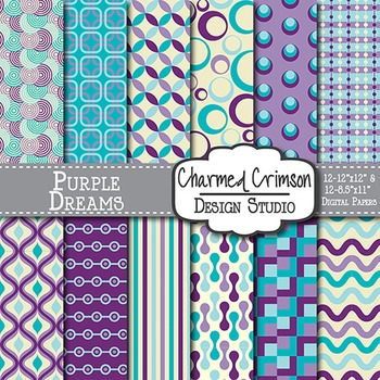 Purple, Aqua, and Teal Retro Digital Paper 1208