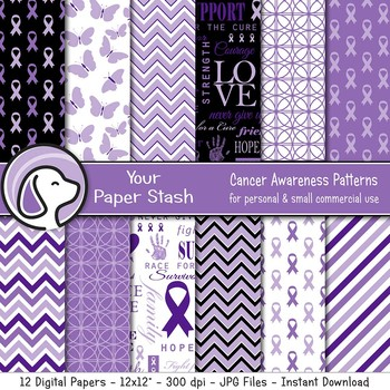 Purple Awareness Ribbon Digital Papers and Backgrounds for ADD ADHD Awareness