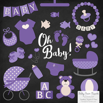 Oh Baby Clipart & Vectors Set in Purple