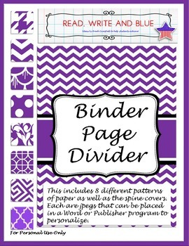 Purple Binder Cover or Page Dividers