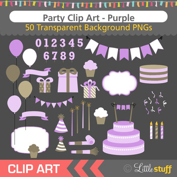 Purple Birthday Party Clip Art (Set of 50)