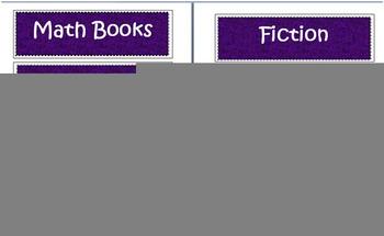 Purple/Black/White Classroom Labels
