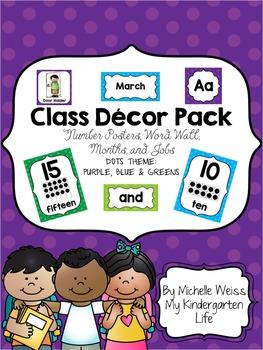 Purple, Blue & Greens Polka Dot Decor Pack