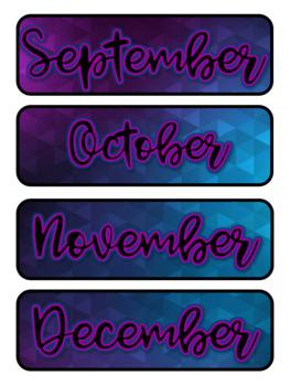 Purple & Blue Ombre Pocket Chart Subject Schedule Cards & Calendar