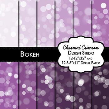 Purple Bokeh Digital Paper 1343