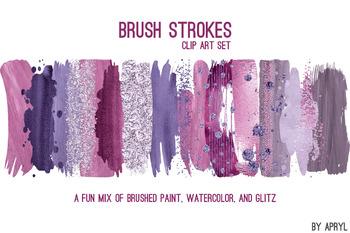 Purple Brush Strokes Paint Glitter Foil Watercolor 20 PNG Clip Art 12in CU S1