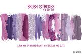 Purple Brush Strokes Paint Glitter Foil Watercolor 20 PNG