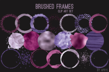 Purple Brushed Round Frames Paint Glitter Watercolor 20 PNG Clip Art 8in CU S1