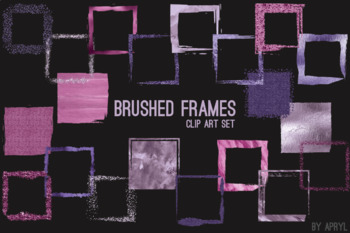 Purple Brushed Square Frames Paint Glitter Watercolor 20 PNG Clip Art 8in CU S1