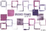 Purple Brushed Square Frames Paint Glitter Watercolor 20 P