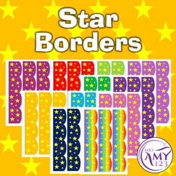 Star Bulletin Borders- Rainbow, Red, Orange, Blue, Green, Purple, Pink