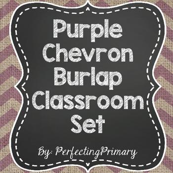 Purple Burlap Chevron Classroom Set