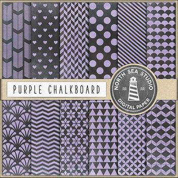 Purple Chalkboard Digital Papers, Coloured Chalkboard