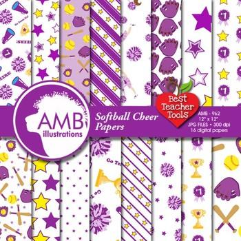 Cheerleaders Digital Papers, Purple Softball Digital Papers, AMB-962