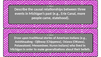 Purple Chevron 3rd GradeNext Generation Social Studies Objectives Cards