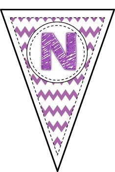 Purple Chevron Alphabet Bunting