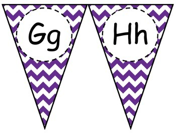Purple Chevron Alphabet Pennant