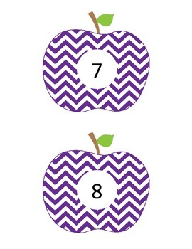 Purple Chevron Apple Station Cards