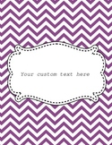 Purple Chevron Binder Cover-Editable