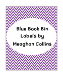 Purple Chevron Book Bin Labels