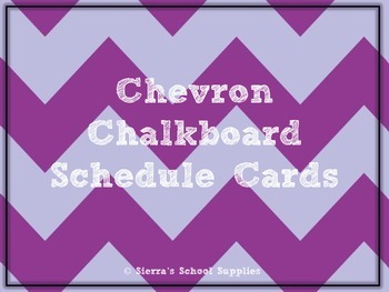 Purple Chevron Chalkboard Schedule Cards