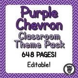 Classroom Theme Decor / Organization - Mega Bundle (Editable!) - Purple Chevron