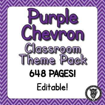 Classroom Theme Decor / Organization - Mega Bundle (Editable!) - Purple Chevron