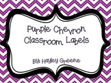 Purple Chevron Classroom Labels! - Large