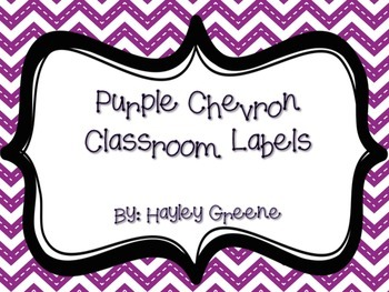 Purple Chevron Classroom Labels! - Large