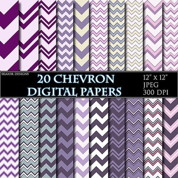 Purple Chevron Digital Papers Violet Papers Zigzag Scrapbooking Printable Pink