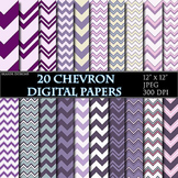 Purple Chevron Digital Papers Violet Papers Zigzag Scrapbo