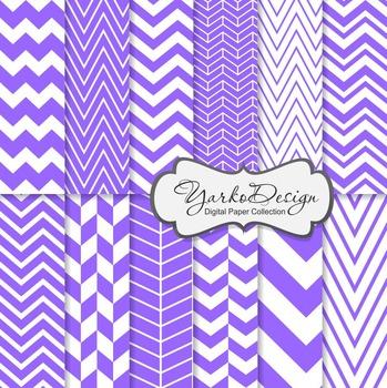 Purple Chevron Digital Scrapbooking Paper Set, 12 Digital Paper Sheets