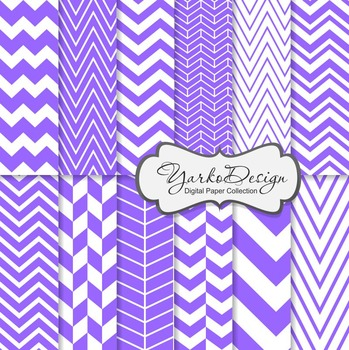Purple Chevron Digital Scrapbooking Paper Set, 12 Digital Paper Sheets