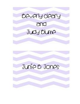 Purple Chevron Genre Book Basket Labels