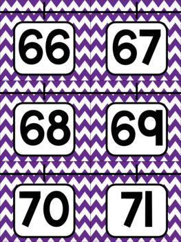 Purple Chevron Number Posters 0-20