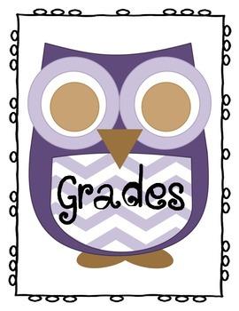 Purple Chevron Owl Binder Cover For Grades