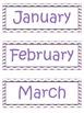Purple Chevron Pocket Chart Calendar Cards