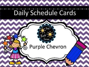 Purple Chevron Schedule Cards
