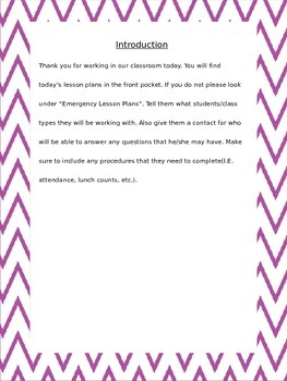 Purple Chevron Substitute Teacher Binder