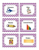 52 Purple Chevron Supplies Labels