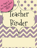 UPDATED Purple Chevron Teacher Binder Dividers, Calendar,