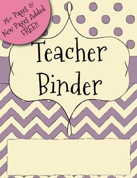 UPDATED Purple Chevron Teacher Binder Dividers, Calendar,