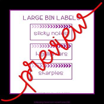 Teacher Toolbox Labels: Purple Chevron