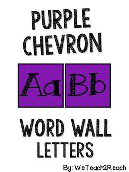 Purple Chevron Word Wall Letters